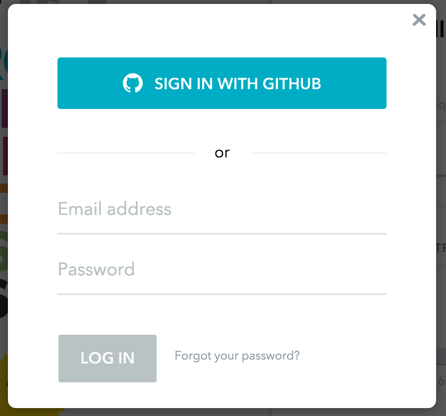 Screenshot of sign in modal