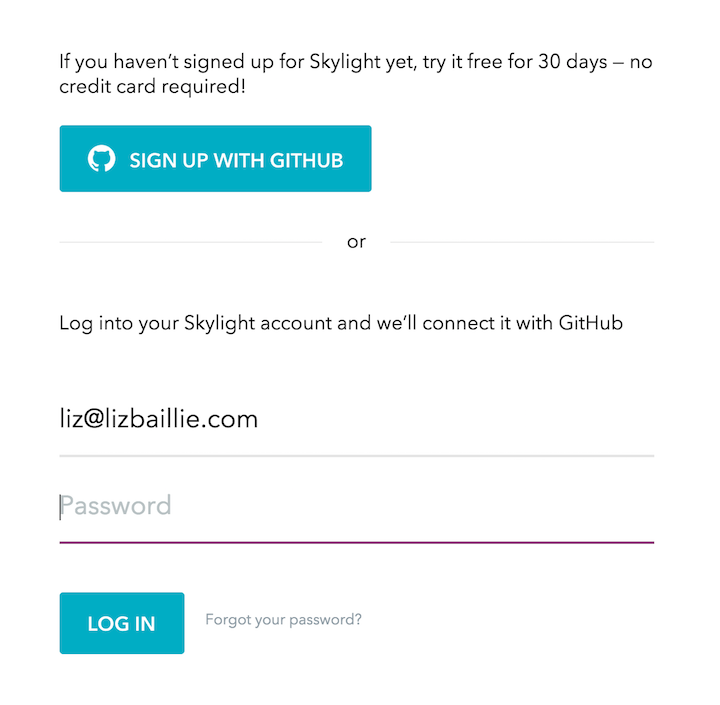 Screenshot of sign in interstitial page