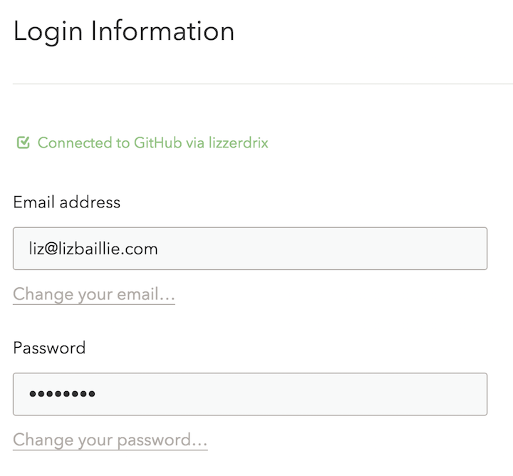 The account settings page, once connected to GitHub