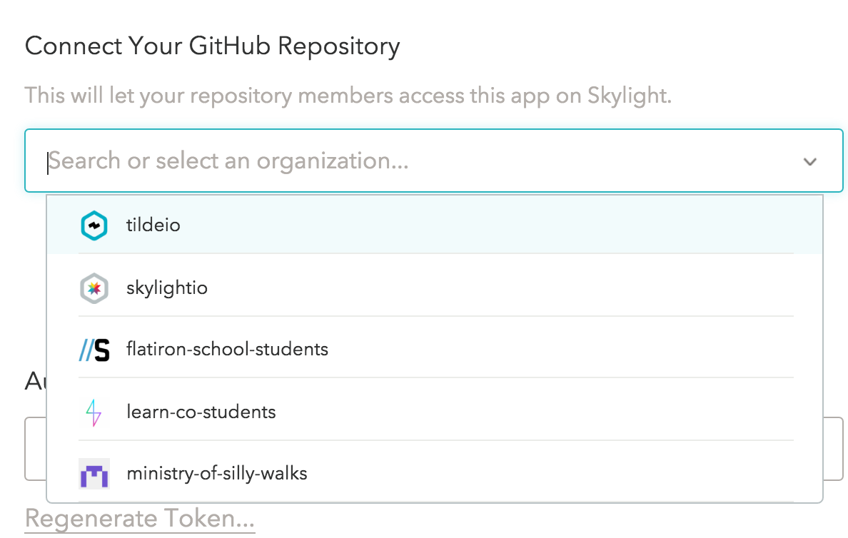 Choosing an organization in Skylight
