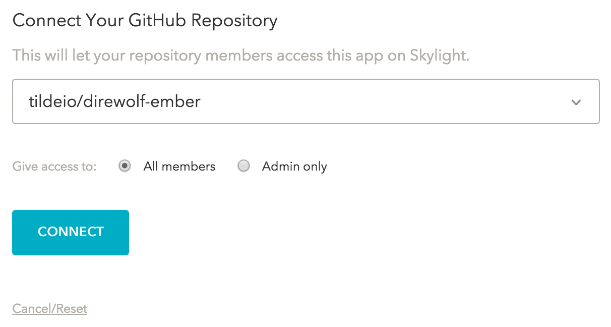 Confirming your repo and permissions in Skylight