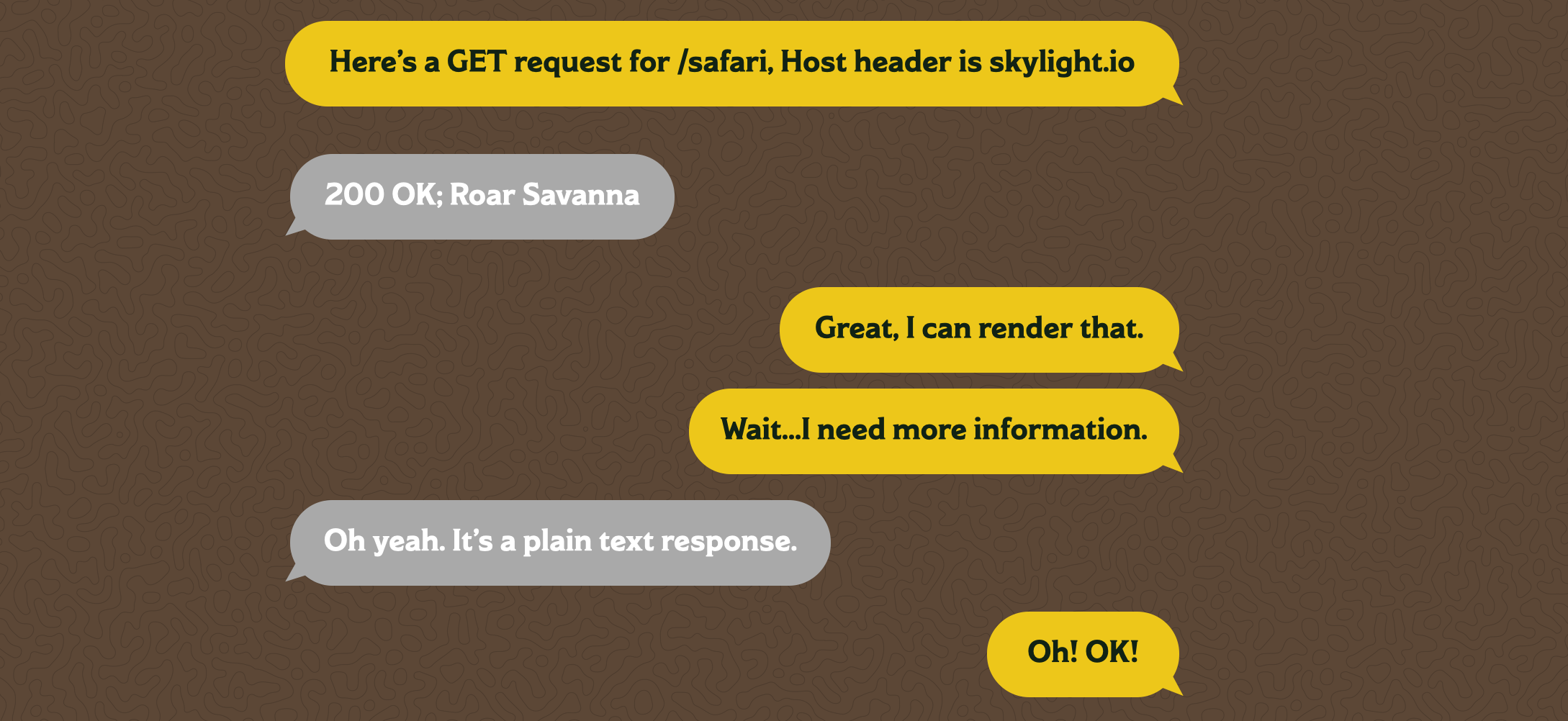 "A text message chain between a browser and a server. The browser says ""Here's a GET request for /safari, Host header is skylight.io"" The server responds with ""200 OK; Roar Savanna?"" The browser says ""Great, I can render that."" then ""Wait...I need more information."" The server says ""Oh yeah. It's a plain text response."" to which the browser responds ""Ok! OK!"""