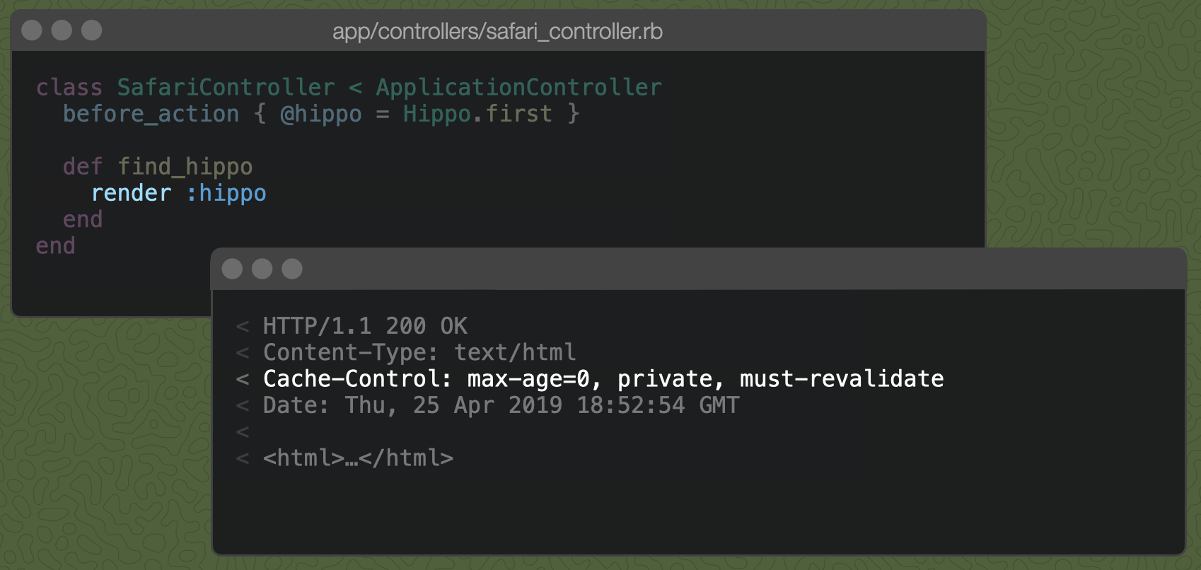 A Rails controller action with just render :hippo and the resulting Cache-Control header, described below.