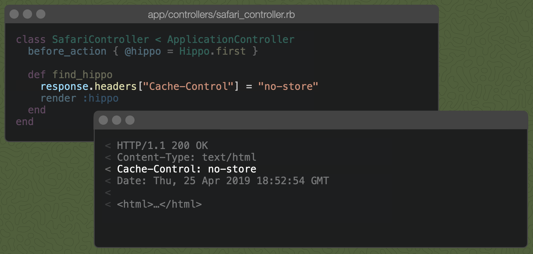 "A Rails controller action with `response.headers[""Cache-Control""] = ""no-store"" and the resulting Cache-Control header: no-store"