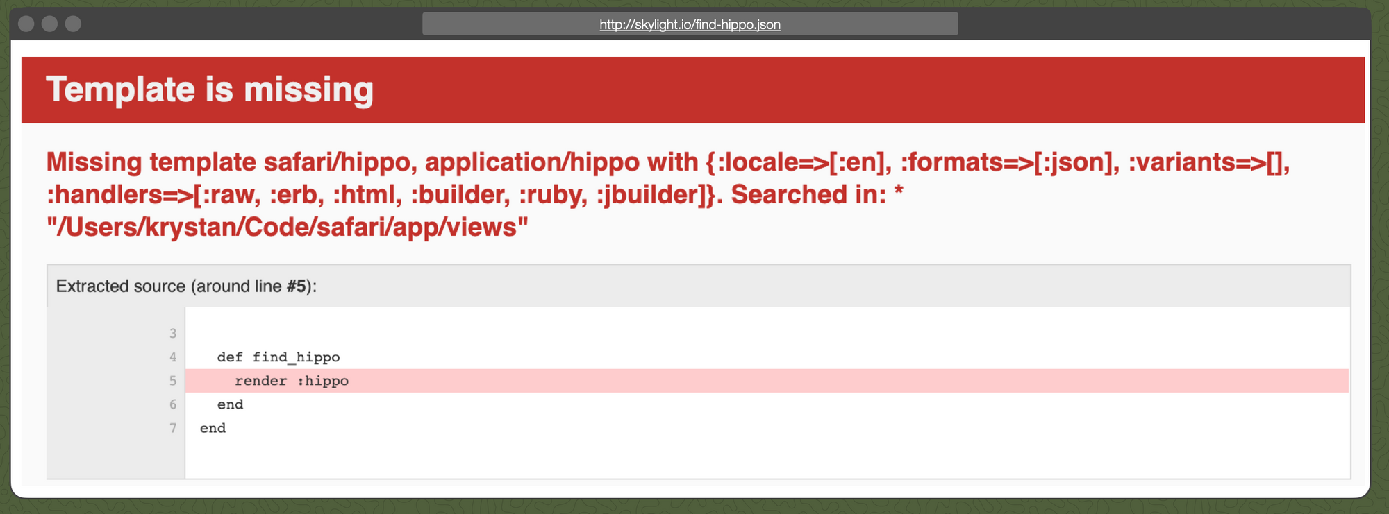 "The ""Template is missing"" error page from Rails."