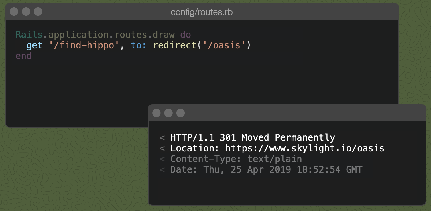 A Rails router with `get '/find-hippo', to: redirect('/oasis')` and the resulting 301 Moved Permanently response.